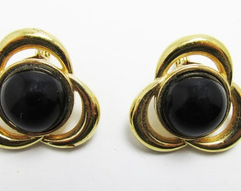 Vintage - Collectible - Onyx Earrings - Jewelry - Gold - Onyx - Earrings - Elegant - Rhinestones - Modern - Minimalistic - Women's - Monet