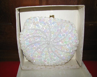 Vintage Hand-made Sequin and mini seed Pearls purse made in Hong Kong