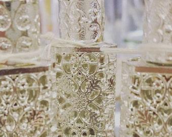 Ornate Filigree Glass Perfume Bottle Silver Overlay