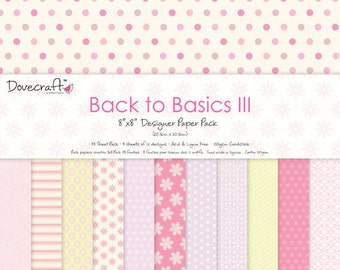 SALE Dovecraft Back to Basics III Pink 8x8 paper pad stack 48 sheets - Pastel Pink, Lemon and Lilac Flower Floral Pattern Stripes