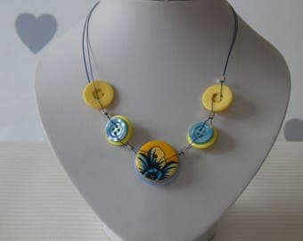 Blue Flower Button Necklace - Button Jewellery - Gifts for her - One of a kind