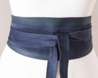 Navy Blue Leather Suede Belt | Navy Blue Suede Obi Belt | Waist Belt | Sash Tie Belt | Womens Leather Belt| Corset Belt | Plus size belts