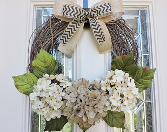 SALE-Front Door wreath, Hydrangea Petals made of Burlap,Everyday Front Door Wreath with Chevron Bow,Double Door Wreath,Rustic Wreath,country