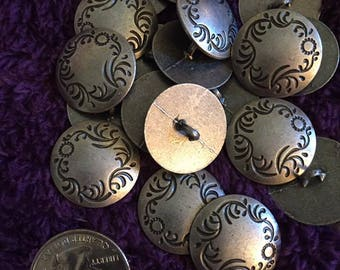 22mm antique silver tone metal shank buttons set of 10