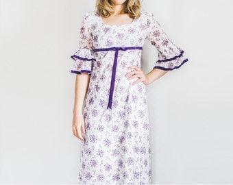 Regency Dress, Vintage Dress, Empire Waist Dress, Floral Dress, Maxi Dress, Vintage Gown, Floral Gown, Purple Lace Dress, Small Dress
