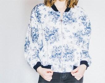 90s Floral Bomber Jacket, Floral Jacket, Vintage Jacket, Blue White Jacket, Spring Fall Jacket, Floral Print Jacket, 90s Bomber Jacket