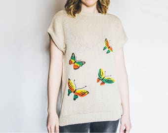 Butterfly Sweater, Short Sleeve Sweater, Tshirt Sweater, Butterfly Knitwear, Medium Large Sweater, Vintage Sweater, Butterfly Top