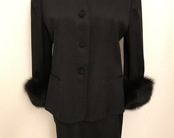 Vintage Black Fur Trimmed Suit: E.R. Gerard for Renlyn Made in USA
