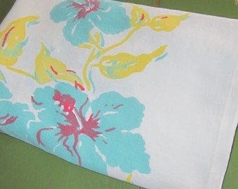 """Retro Cool Turquoise and Yellow Small Table Linen 48"""""""