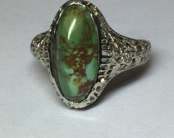 Vintage Art Deco 14k White Gold Turquoise Floral Filigree Ring