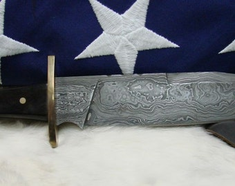 Bowie Knife - Full Tang Bowie Knife - Damascus Steel Blade Bowie Knife With Coin Concho Leather Sheath - Hunting Knife
