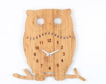 Bamboo Wood Wall Clock -  Owl