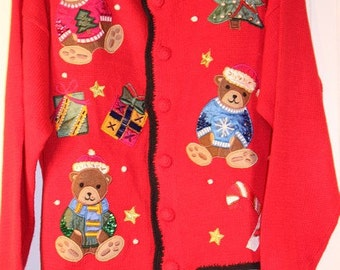 Ugly Christmas Sweater Red with BearsTacky  Cardigan Sweater Size Large
