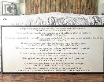 Mother Teresa | do good anyway poem | Inspirational sign | custom wood sign | farmhouse decor | fixer upper
