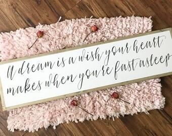 A dream is a wish | nursery | play room decor | girl nursery | boy nursery | fixer upper decor | baby shower gift | farmhouse sign
