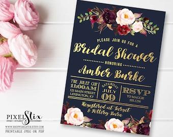 Navy Bridal Shower Invitation, Dark and Chic Gold Foil, Floral Wedding Shower, Couples Shower, Marsala, Burgundy, Eggplant, PRINTABLE