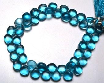 "1 Stand Swiss Blue Topaz Color Hydro Quartz Smooth Heart Shape Briolettes Beads 8"" Full Strand  Blue Color Super Fine Quality 8 - 9 MM"