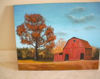 Original oil painting of a old barn