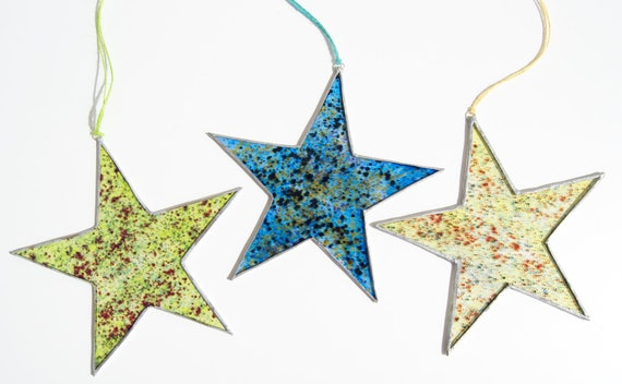 Star - Tiffany Stained Glass - Star ornament - Colors - Window panel - Suncatcher - Wall hanging - Hanging panel - Ready To Ship