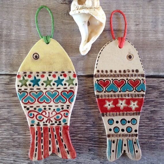 Tiny Ceramic fish, hanging fish, handmade, hand glazed, hanging decoration, coastal decoration, ornament, colour and pattern, beach hut decs