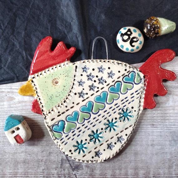 Ceramic Hanging Hen, handmade, Chicken, Kitchen decor, bright and cheerful, nice little gift, unique