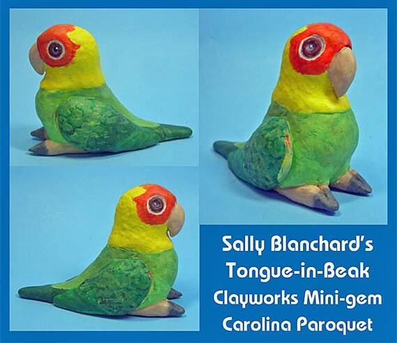 CAROLINA PAROQUET Tongue-in-Beak Mini-gem by Sally Blanchard