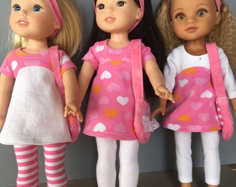 "Pink & white Heart Dress with leggings  made to fit 14.5"" doll like Wellie wisher dolls/heart for heart dolls"