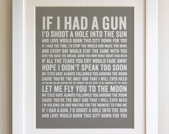 FRAMED Lyrics Print - Noel Gallagher, If I had a gun - 20 Colours options, Black/White Frame, Wedding, Anniversary, Valentines, Fab Picture