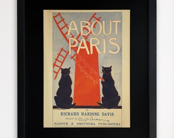 "LARGE 20""x16"" FRAMED Advertising Print, Black or White Frame/Mount, About Paris"