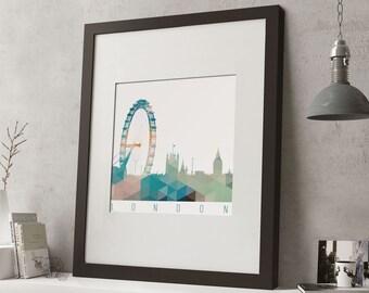 """FRAMED Geometric London Print, 12""""x10"""" Black or White Frame, Modern Art"""