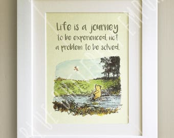 DIGITAL DOWNLOAD Winnie the Pooh Quote Print, Baby, Birth, Christening, Nursery Picture Gift, Pooh Bear