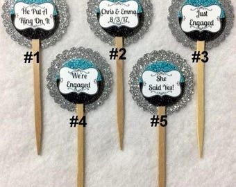 Set Of 12 Engagement Party Cupcake Toppers (Your Choice Of Any 12)