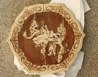 Carved Chinese plate with marking