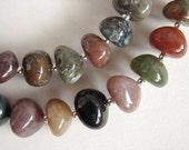 Pebbles Necklace, Fancy Jasper Silver Bead Necklace, Chunky Jasper Necklace