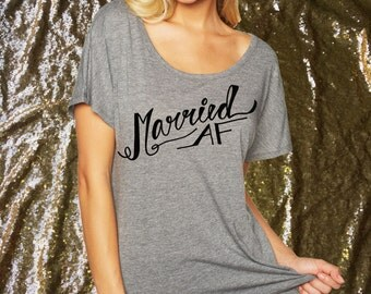 Married AF Short Sleeve Tunic Honeymoon Shirt