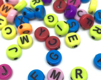 50 letter beads, 7 mm, colorful