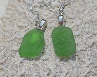 Kelly Green Sea Glass Sterling Silver Earrings