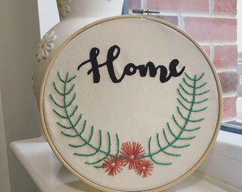 Home wreath embroidery hoop