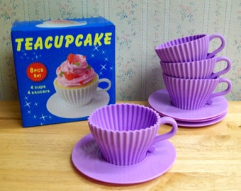 Teacups Set of Silicone Cupcake Baking Molds with 4 Purple Silicone Tea Cups and 4 Purple Plastic Saucers for Cupcakes - Reusable  ON SALE!