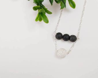 Layered lava rock diffuser necklace, essential oil diffuser necklace, lava rock necklace, layered necklace, minimalist necklace