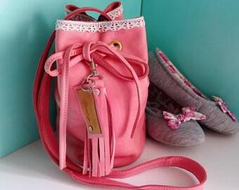 Summer Beach bag Women's Pink leather bag  Mini Bucket bag with lace trim Drawstring crossbody bag  Ballet bag Dance shoe bag Kawaii bag