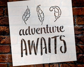 Adventure Awaits - Curly Leaves - Word Art Stencil - Select Size - STCL1775 - by StudioR12