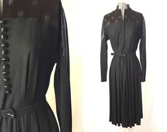 Small/medium ** 1930s BLACK SATIN and wool belted dress ** vintage thirties Grosscraft designer dress