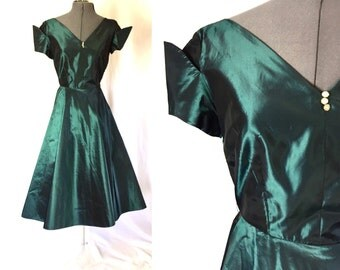 Xs/small ** 1950s DARK TEAL taffeta party dress ** vintage fifties rhinestone holiday dress