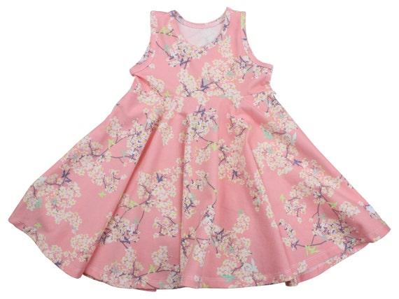 Cherry Blossom Twirl Dress Twirly Dress Summer Dress Toddler Dress Child Dress Baby Dress Girl Twirl Dress Green Pink Cherry Blossom Dress