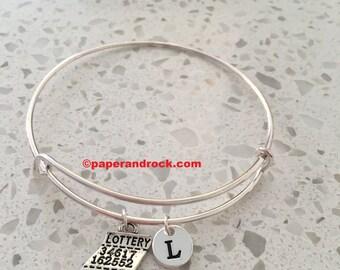 Lottery ticket bangle, lottery ticket charm, lottery bangle, personalized bracelet, initial bangle, lottery bracelet