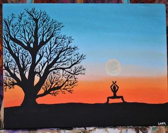 "Original Folk Art, Acrylic Painting, Yoga Painting, Sunset Painting, Silhouette Art, Canvas, ""Goddess""- Original Artwork by Lacy Dobbs"