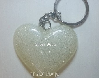 White and Black glitter solid colour mix resin heart keyring opaque custom personalised