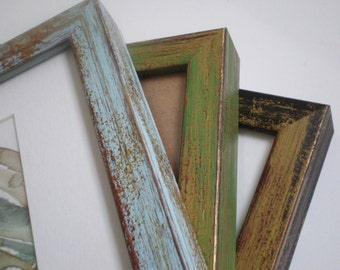 """Blue 12x12"""" picture frame wood frame distressed frame 30x30cm shabby chic wall decor wall frames chunky frame RusticFrameShop"""