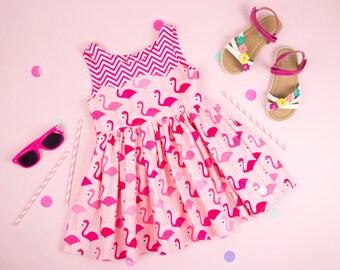 Girls Flamingo Party Dress Girls Dress Birthday Dress Flamingo Dress Girls Party Dress